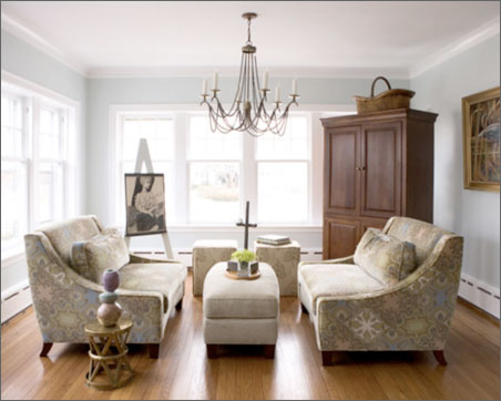 chandelier in the living room laurie jones home. Black Bedroom Furniture Sets. Home Design Ideas