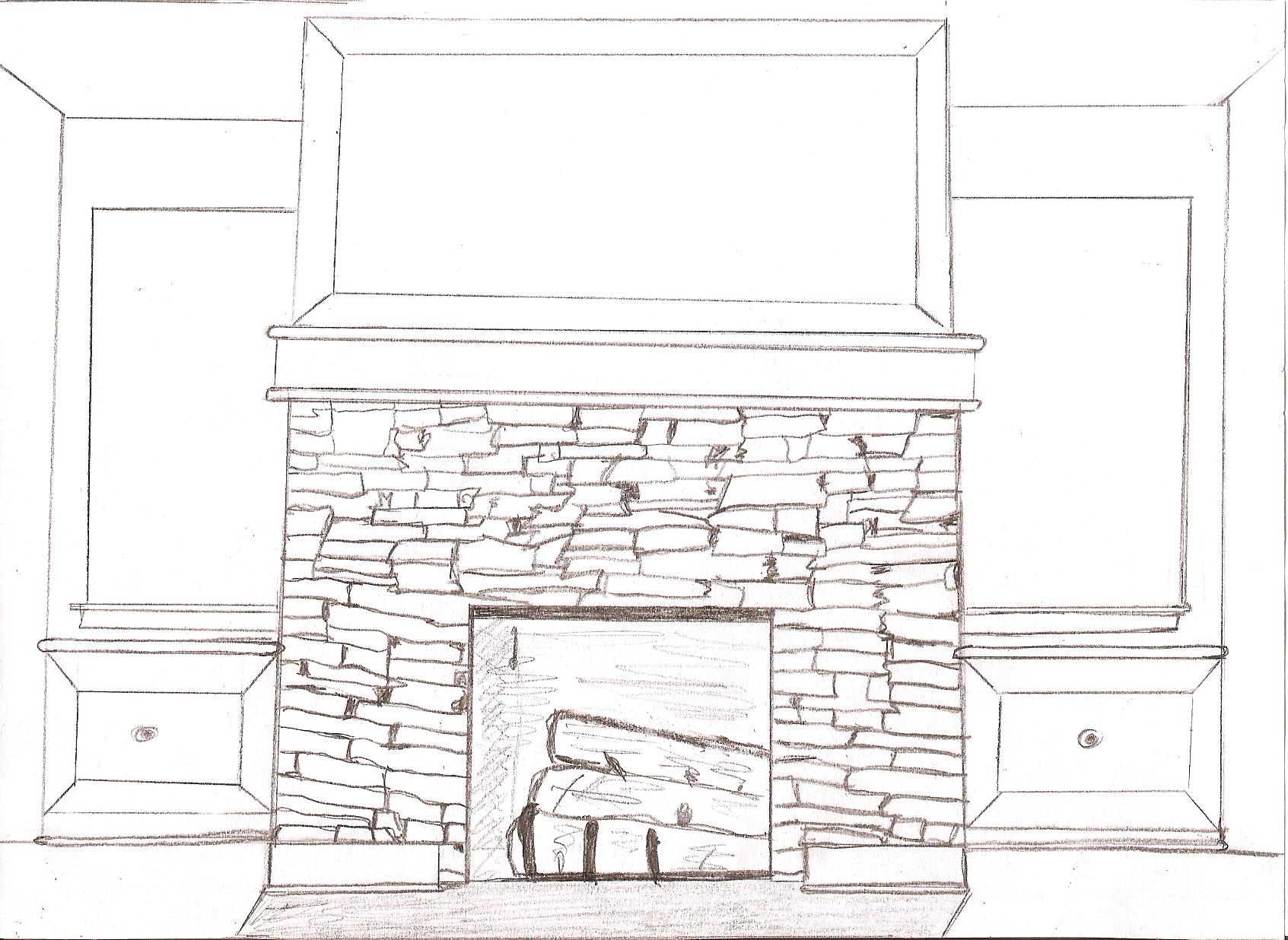 рисунок огня в камине трафарет микроскопического