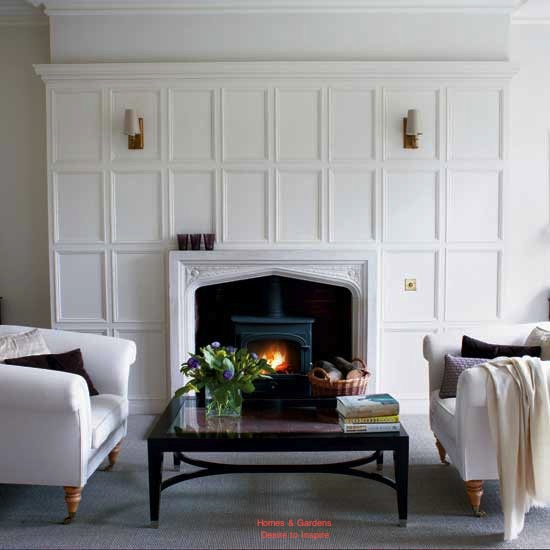 The fireplace laurie jones home for Living room ideas with wood paneling